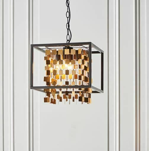 Daya 4 Light Matt Black Frame with Cascading Matt Gold Detailing pendant